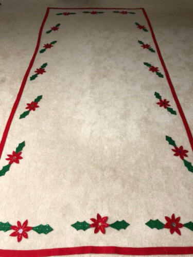 Vintage White Tulle Sequined Christmas Tablecloth Poinsettias Large - Red Trim
