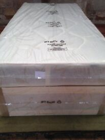 3ft single white divan base with padded mattress, brand new, free delivery