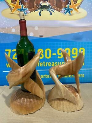 Pair Dolphin Carved Wood Wine Bottle Holders - Best Deals On