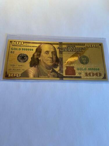 100 Dollar Bill Note in 24K Gold Plated with Plastic cover