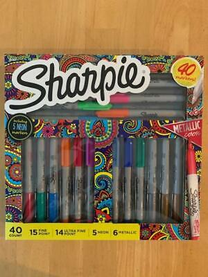 Sharpie 40 Markers Set -assorted Colors Fine Point Ultra Fine Neon Metallic