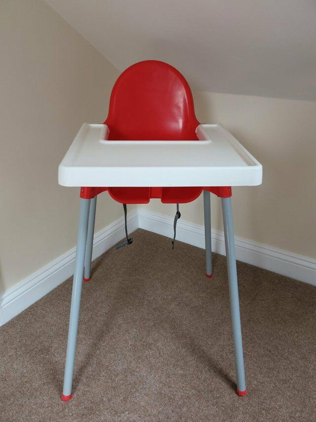 Ikea Antilop Highchair With Tray   Red U0026 White