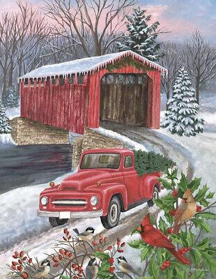 "NEW Garden Flag ""Winter Covered Bridge""Christmas Tree Red Truck 12.5x18"""
