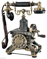 Antique Telephone Old Style Phone Black Retro Vintage 1892 Reproduction Paramoun