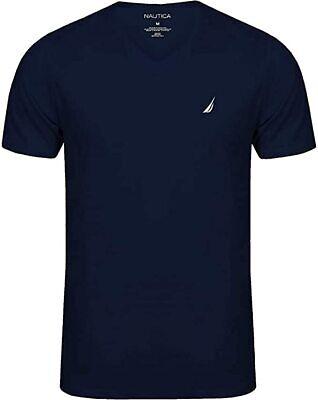 Nautica Men's Short Sleeve Solid Classic fit Fit V-Neck T-Shirt, Navy, XL
