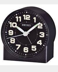 New Seiko Black Dial Alarm Clock Watch QHE084KLH