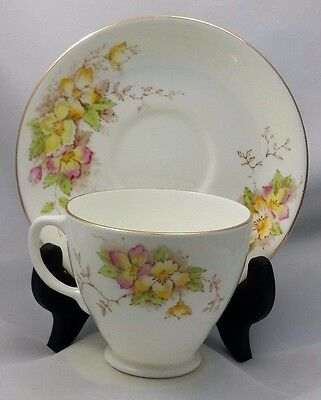 SAMPSON SMITH Old Royal Bone China CUP & SAUCER 2644 Wild Rose Sprig