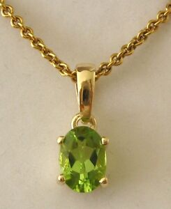 GENUINE  9ct  SOLID  Gold  AUGUST  BIRTHSTONE  PERIDOT  Pendant