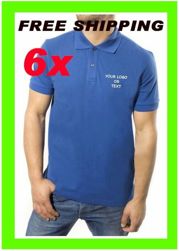 6 Polo Shirts Custom Embroidered - FREE LOGO - Business- Sports- Golf - Team