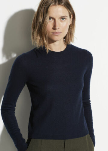 W774 NWT VINCE 100% CASHMERE CREWNECK FITTED WOMEN SWEATER SIZE XS, S, M, L $325