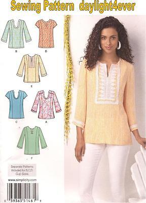 Women Top Tunic 6 Styles Sewing  Pattern 1461 Simplicity New Size  10-18 #u