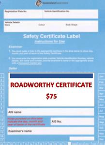 ROADWORTHY CERTIFICATE $65
