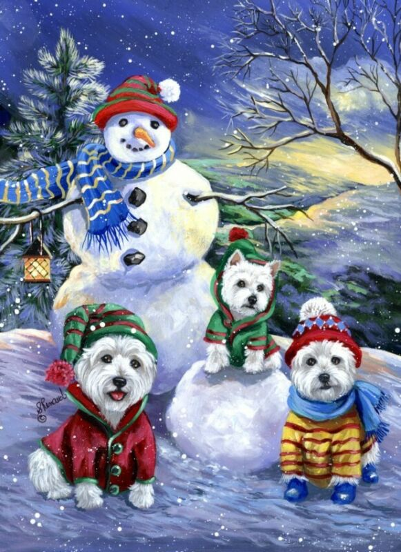 "Precious Pets Christmas Cards - Westie Snowballs 5"" x 7"" ~ Charity!"