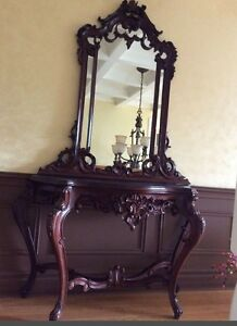 Victorian antique carved table and mirror