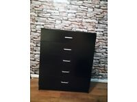 BLACK Chest of 5 drawers