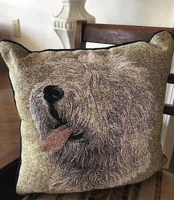 Old English Sheepdog Dog Jacquard Woven Cotton Tapestry Accent Throw Pillow NEW