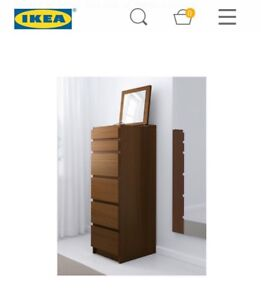 NEW IKEA MALM Tall 6 Drawer Dresser w/ Mirror Brown Ash