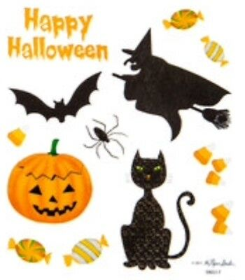 Happy Halloween Witch Candy Black Cat Jack Lantern Scrapbook Stickers