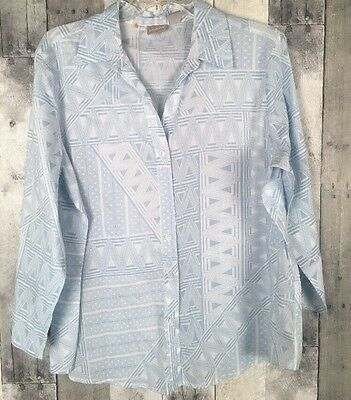 NEW CHICO'S Blue Geometric BUTTON UP BLOUSE TOP SIZE 2 Large Long Sleeve