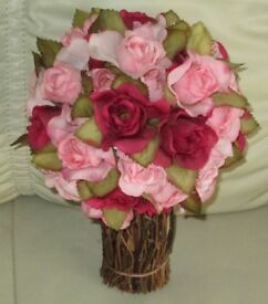 """Pretty spray - artificial PINK & BURGUNDY ROSES & leaves in twig effect base, 9.5"""" high, v.g.c."""