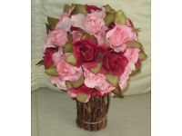 """Pretty posy artificial Flowers pink & burgundy with leaves, 12"""" high, free standing, twig effect"""