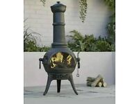 Blooma Etinas Cast Iron Chiminea Log Burner Chimney Patio Heater Fire Pit