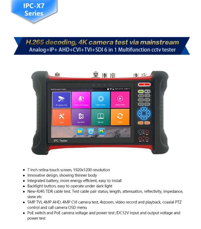 X7-ADH 4K H.265/264 AHD/CVI/TVI Image Display HDMI input CCTV IP camera Tester