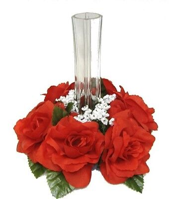 RED CANDLE RING Silk Roses Wedding Flower Table Centerpiece Unity Candle (Red Unity Candle)
