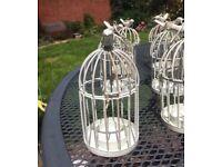 Vintage cream tea light bird cages