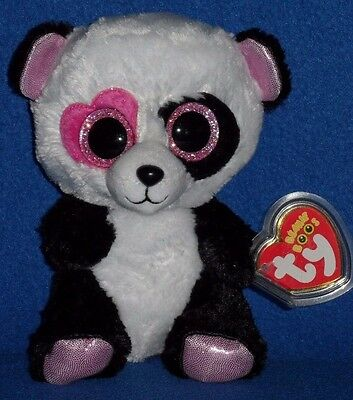 "TY BEANIE BOOS - MANDY the 6"" VALENTINE PANDA BEAR - MINT with MINT TAG"
