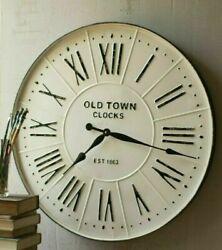 Farmhouse Large Oversize Enameled Roman Numerals Round 27 Wall Clock