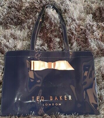 Ted Baker Genuine Large Navy Blue Tote Shopper with Gold Bow