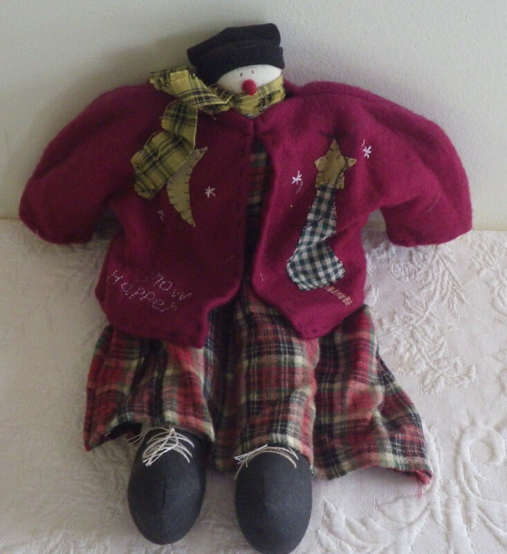 "Holiday Snowman Christmas Decorative Doll Stuffed 16"" Tall Snow Happens Plush"