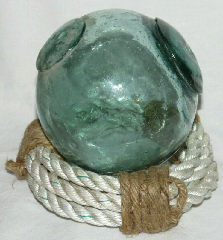 "Japanese Glass Float 4""D Seal Button + Patch WP Mark#24 Inclusion Rope Stand Vtg"