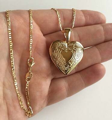18K GOLD FILLED HEART LOCKET NECKLACE-20