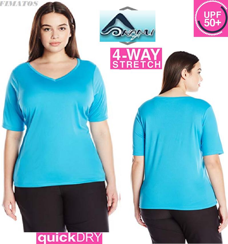 Kanu Surf Women's Plus-Size Solid UPF 50+ Swim Shirt Rashgua