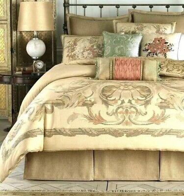"Croscill Normandy Jute Style Gold Wheat Basket-Weave Queen Bedskirt 17"" Drop -"