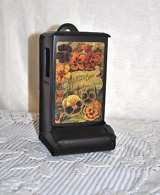 CUTE Black Metal MATCH TIN Safe Holder ALNEER BROS Flowers Vintage Advertisement