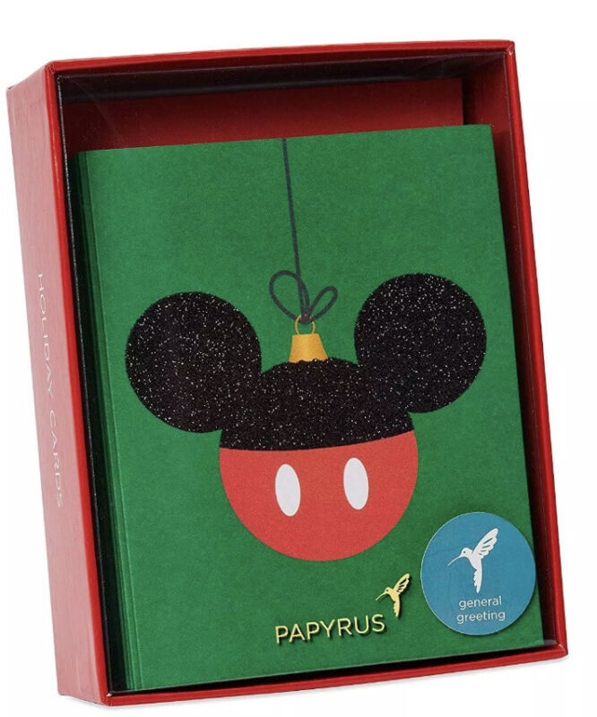 Papyrus Glitter Mickey Mouse Boxed Christmas Cards.  20 count