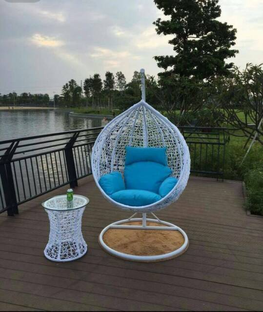 Outdoor Swing Egg Trapeze Wicker Rattan Hanging Pod Chair White