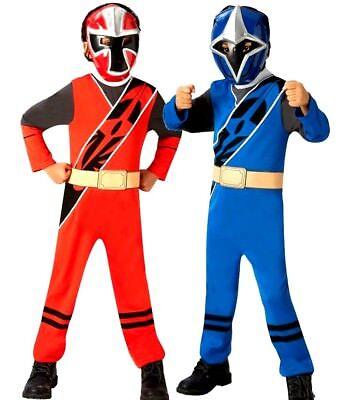 Child POWER RANGER Ninja Steel Blue Red Superhero Licensed Fancy Dress Costume