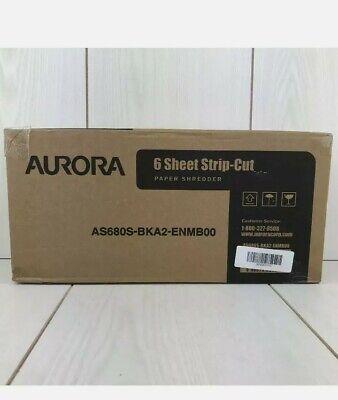 Aurora As680s 6 Sheet Light Duty Strip Cut Shredder Without Wastebasket - Black
