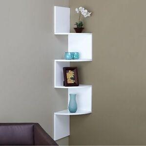 white zig zag corner wall shelf bedroom living room