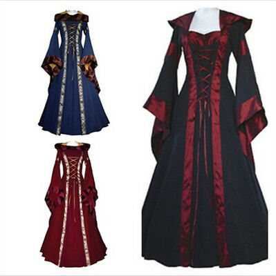 Women's Vintage Victorian Renaissance Gothic Dress Medieval Dress Costume Hooded (Victorian Costume Women)