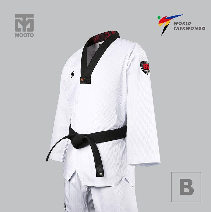 как выглядит MOOTO BS4.5 Uniform with Black V-Neck WT World Taekwondo TKD 4.5 Dobok фото