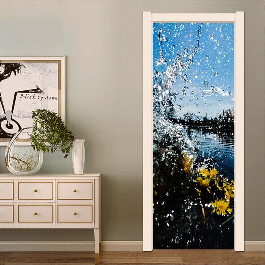 3d Water Drop Flowers Self Adhesive Bedroom Door Stickers Wall Murals Decoration Ebay