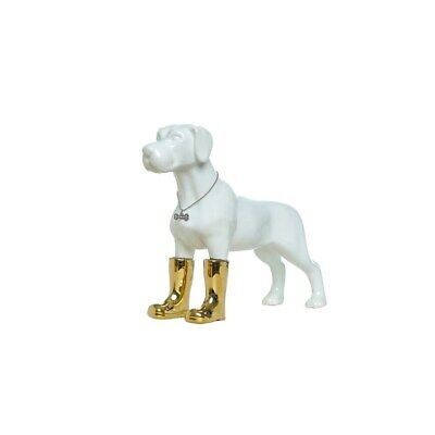 "Interior Illusions Plus Dog with Gold Boots Bank - 11"" tall White"