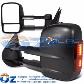 MAZDA BT50 Retractable Towing mirror PAIR BLACK w/indicator
