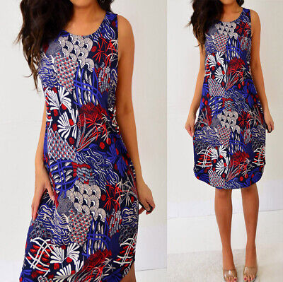H&M Blue Red Beige Sleeveless Shift Dress 12 8 M Medium NWT