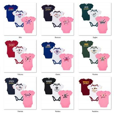 NFL 3 pk Girls Bodysuit Set by Gerber Childrenswear Select Size THEN Team Below